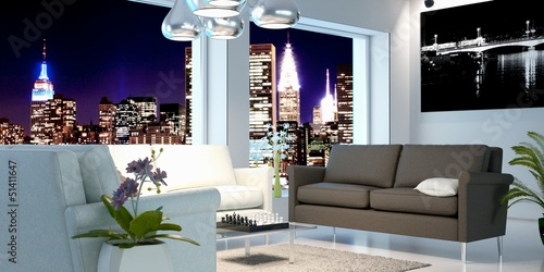 Urban Living Room at Night