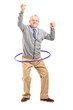 Full length portrait of a mature gentleman dancing with a hula h
