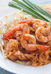 Pad Thai (Stir-Fry Rice Noodles) with shrimps