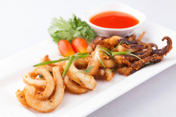 fried octopus with chili sauce