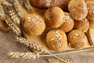 Homemade buns with wheat ears