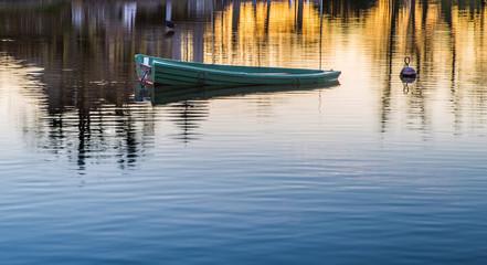 Sinking green boat at Lake Geneva, Switzerland