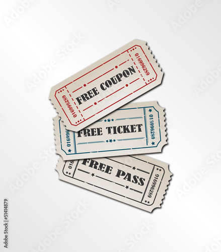 Collection vintage free ticket