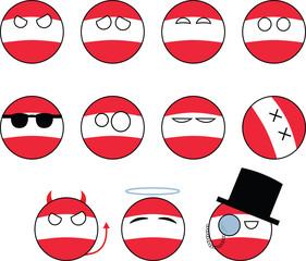 set of smileys Austria, countryballs