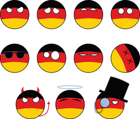 set of smileys Germany, country ball