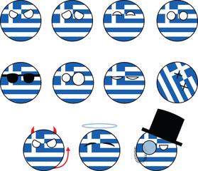 set of smileys Greece, countryballs