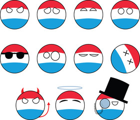 set of smileys Luxembourg, countryballs
