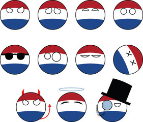 set of smileys Netherlands, countryballs