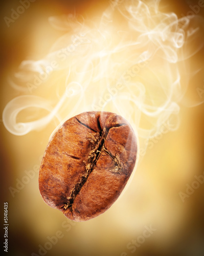 Flying coffee bean in smoke