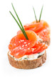 Canapes with salmon and onion