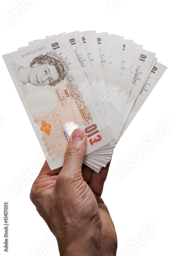 Hand giving money on white