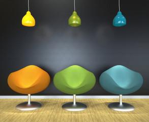 Salón con sillas modernas