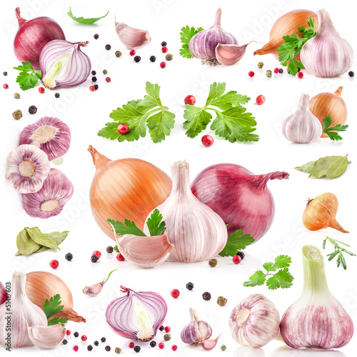 Collection of garlic and onion with peppercorn isolated on white