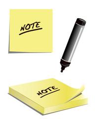 Notizblock, Notizpapier mit Filzstift