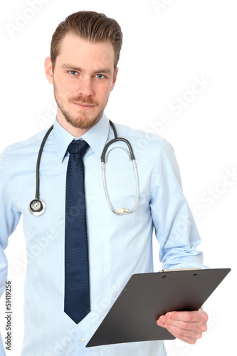 Young plastic surgeon with folder