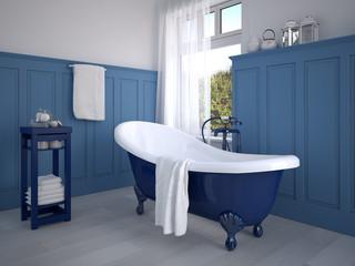 klassisches badezimmer mit dekoration in blau