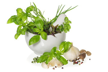 Herbs and spices in mortar