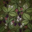 Seamless background with blackberry fruits and flowers. Eps10