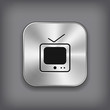 TV icon - vector metal app button