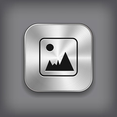 Photography icon - vector metal app button
