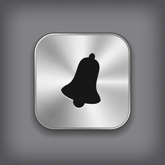 Bell icon - vector metal app button