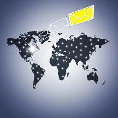 concepto del correo electrónico internacional