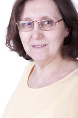 smiling senior woman with glasses