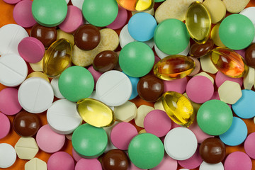 Abstract background of colorful pills