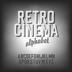Old cinema styled alphabet. With textured background, vector, EP