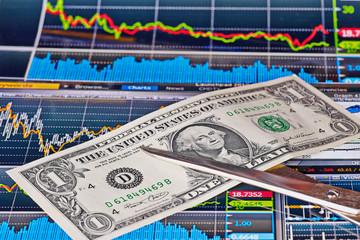 Scissors cuts US one-dollar banknote, financial chart as backgro