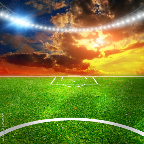 Soccer stadium with thw lights
