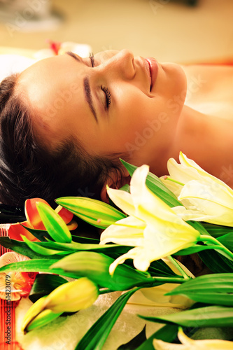 lying with flowers
