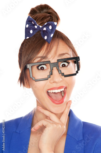 hoto of a funny surprised nerdy girl wearing 8 bit glasses