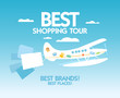 Best shopping tour design template with airplane and paper bags