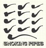 Vector Set: Retro Smoking Pipe Silhouettes