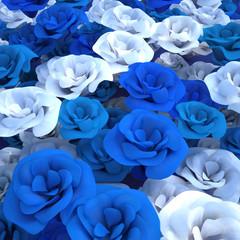 blue floral composition 3d illustration