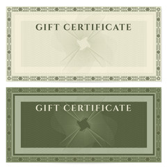 Gift Voucher (coupon) template with border. Green color