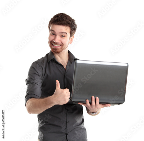 Sales man presenting laptop on white background