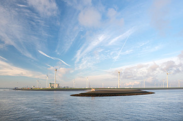 Industrial harbor with wind turbines