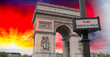 Sunset over Arc De Triomphe in Paris