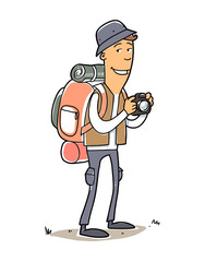 Man with tourist bag, hat and camera.