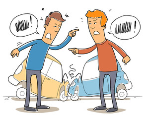 two mans debate who is to blame in a car crash