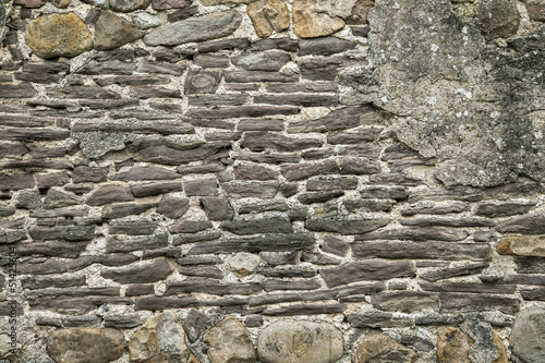 Stone Wall Background with rocks and concrete.