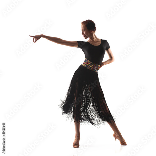 woman dancer wearing black latina dress