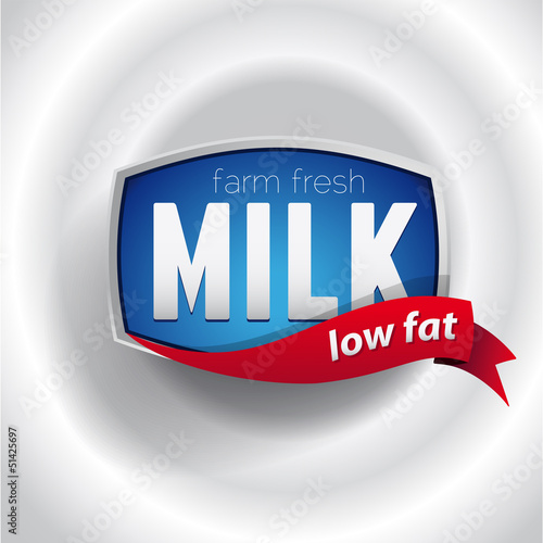 Farm fresh low fat Milk label lettering - vector
