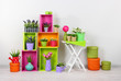 Beautiful colorful shelves with decorative elements standing in