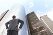 man looking on skyscraper