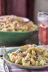 Traditional macaroni salad served with lemonade
