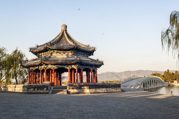 Spacious pavilion and the bridge in Summer Palace, Beijing