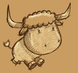Cute Bull Cow Sketch Doodle Illustration Vector Art